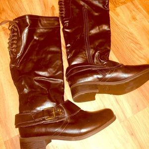 Brown leather boots. Size seven. Brand new
